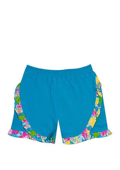 Baby Girls Blue Shorts with Ruffle Trim