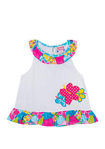 Jumping Fences by Rare Editions Baby Girls White Ruffle Mix Print Flower Applique Top