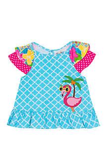 Jumping Fences by Rare Editions Baby Girls Aqua Mix Print Flamingo Applique Top