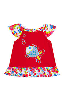 Jumping Fences by Rare Editions Baby Girls Coral Fish Applique Top