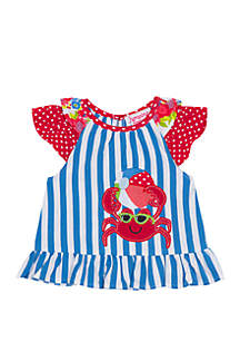 Jumping Fences by Rare Editions Baby Girls Stripe Crab Applique Top