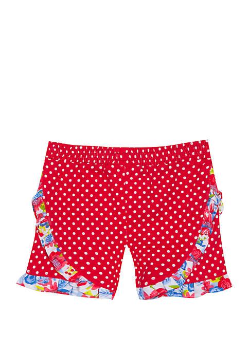 Baby Girls Coral White Dot Shorts