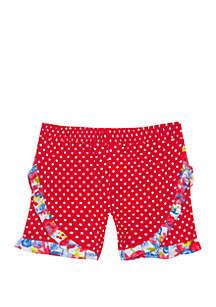 Rare Editions Baby Girls Coral White Dot Shorts
