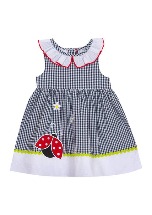 Baby Girls Navy White Checkered Seersucker Dress