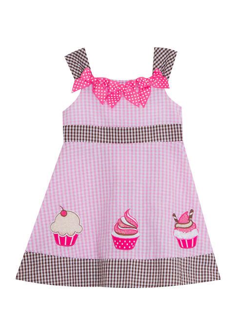 Baby Girls Pink and Brown Seersucker Cupcake Dress
