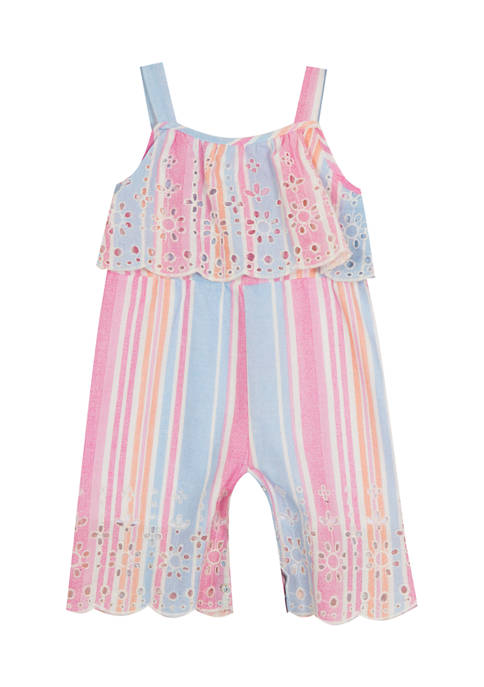 Baby Girls Stripe Embroidered Popover Jumpsuit