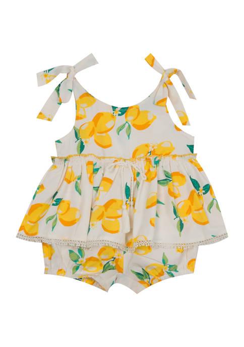 Baby Girls Lemon Ruffle Woven Romper