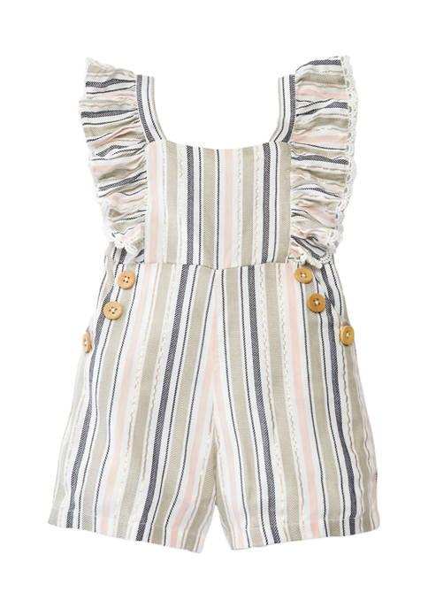 Toddler Girls Yarn Dyed Stripe Romper
