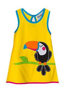 Toddler Girls Tucan Applique Dress