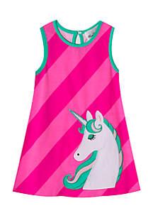 Toddler GIrls Unicorn Applique Dress
