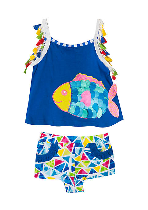 Rare Editions Blue Fish Shorts Set Toddler Girls