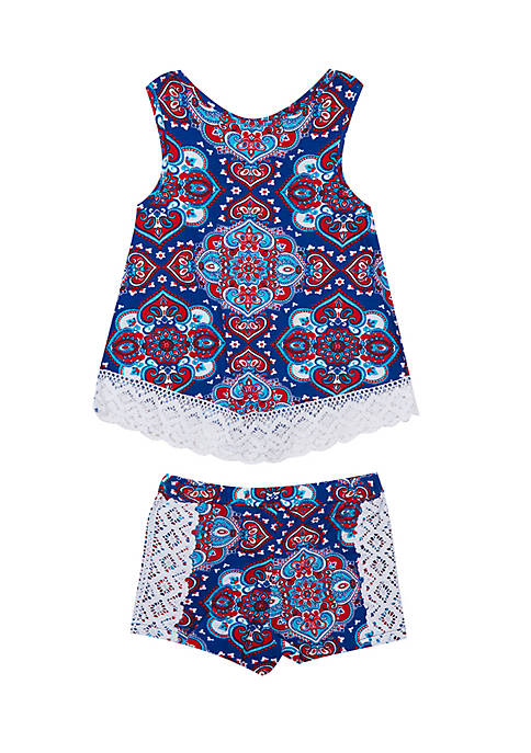 Rare Editions Toddler Girls Bandana Short Set