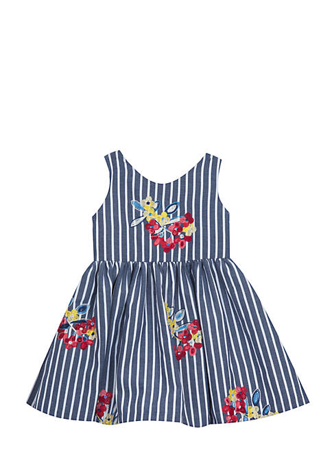 Rare Editions Toddler Girls Blue Stripe Embroidered Dress