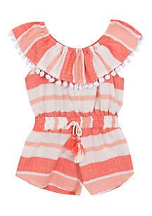Toddler Girls Ruffle Collar Pom Pom Romper