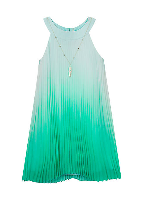 Rare Editions Toddler Girls Crystal Pleat Mint Dress