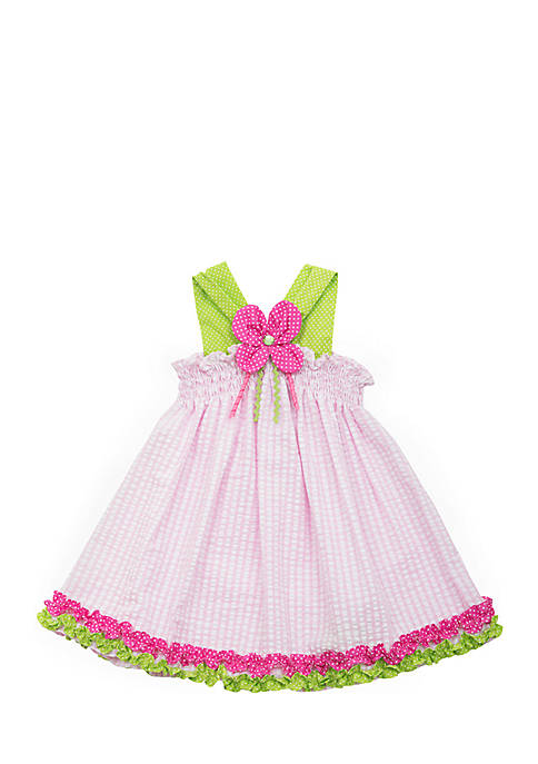 Rare Editions Smocked Flower Seersucker Dress Toddler Girls