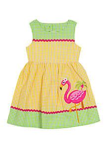 Rare Editions Toddler Girls Seersucker Flamingo Applique Dress