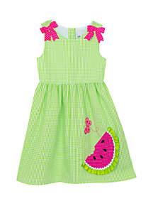 Rare Editions Toddler Girls Watermelon Seersucker Dress