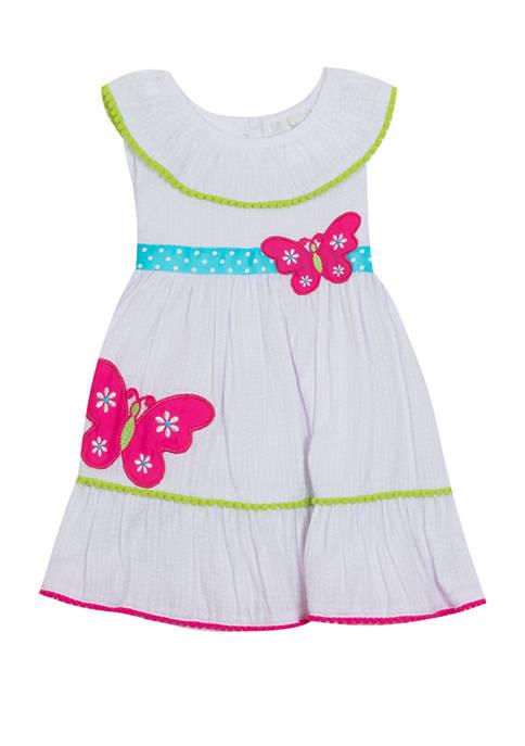 Toddler Girls Sleeveless Butterfly Tiered Seersucker Dress