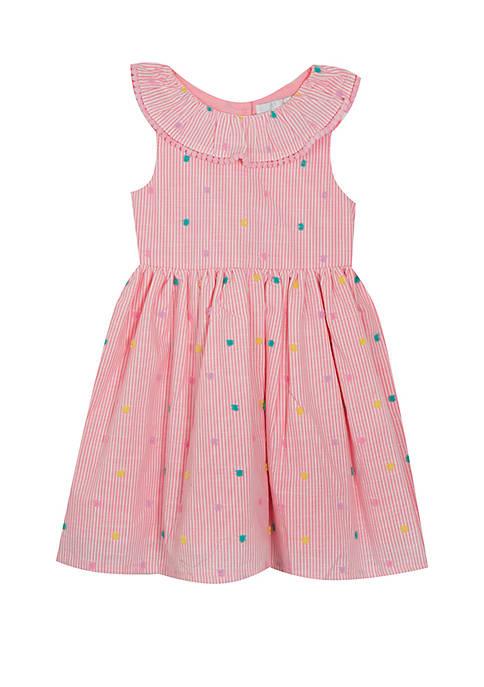 Toddler Girls Seersucker with Flock Dots Dress