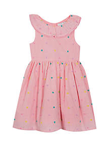 Rare Editions Toddler Girls Seersucker with Flock Dots Dress