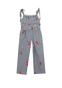 ... Rare Editions Toddler Girls Gingham Floral Embroidered Jumpsuit a55cca3bd