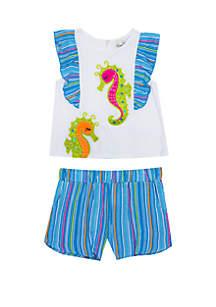 Rare Editions Toddler Girls Seahorse Top and Shorts Set