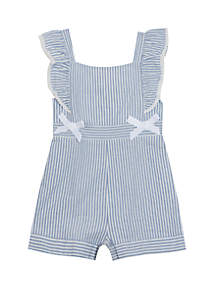 Rare Editions Toddler Girls Stripe Romper with Bows