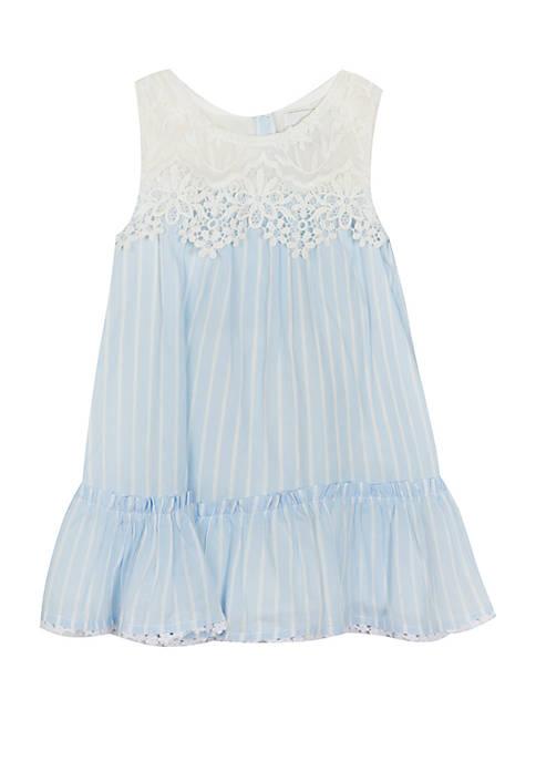 Rare Editions Toddler Girls Blue Stripe Lace Yoke Dress