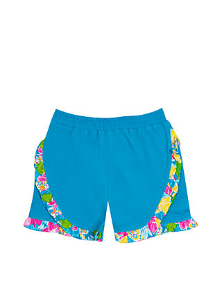 0bd6e4d291924 Toddler Girls Solid Shorts with Floral Ruffle Trim