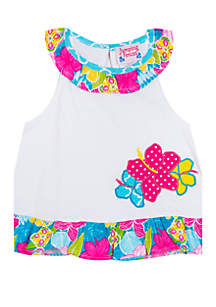 Jumping Fences by Rare Editions Toddler Girls Floral Ruffle Neck Tank