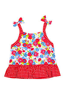 Jumping Fences by Rare Editions Toddler Girls Floral Dot Bow Shoulder Tank