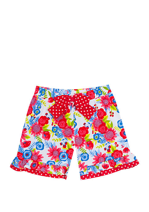 Toddler Girls Floral Double Ruffle Shorts with Bow