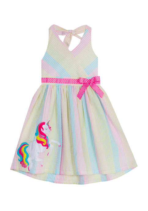 Rare Editions Toddler Girls Halter Stripe Unicorn Seersucker