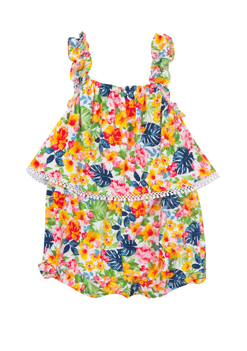 Rare Editions Toddler Girls Sleeveless Popover Floral Romper