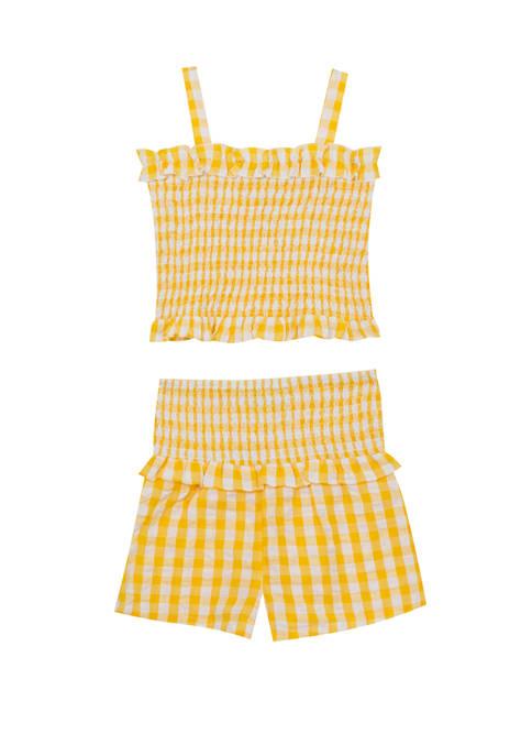 Toddler Girls Sleeveless Smocked Short Set