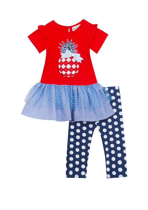 Rare Editions Toddler Girls Short Sleeve Pineapple Americana