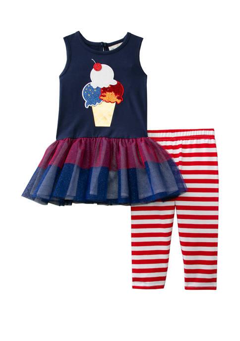 Rare Editions Toddler Girls Sleeveless Americana Tulle Dress