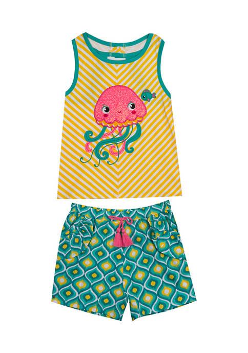 Toddler Girls Jellyfish Appliqué Top and Shorts Set