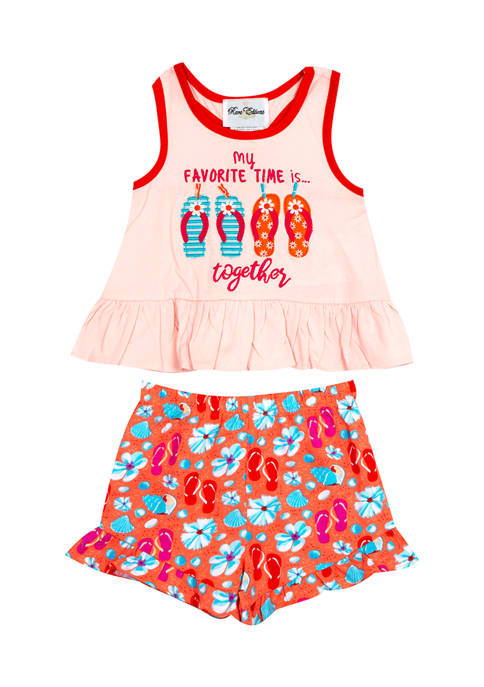 Rare Editions Toddler Girls Flip Flop Top with