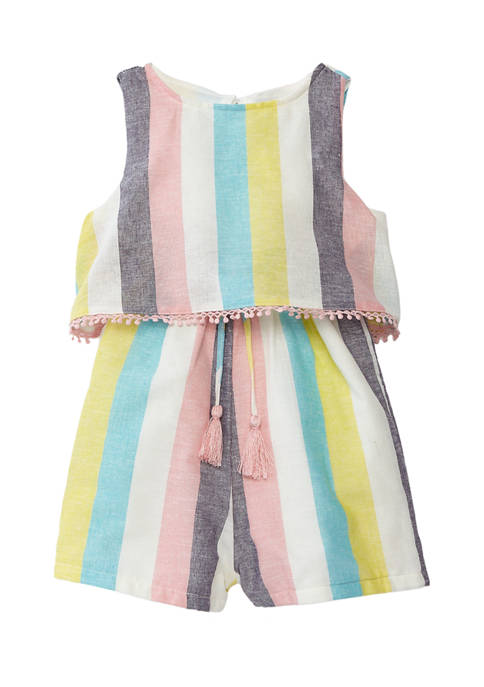 Toddler Girls Yarn Dyed Stripe Popover Romper