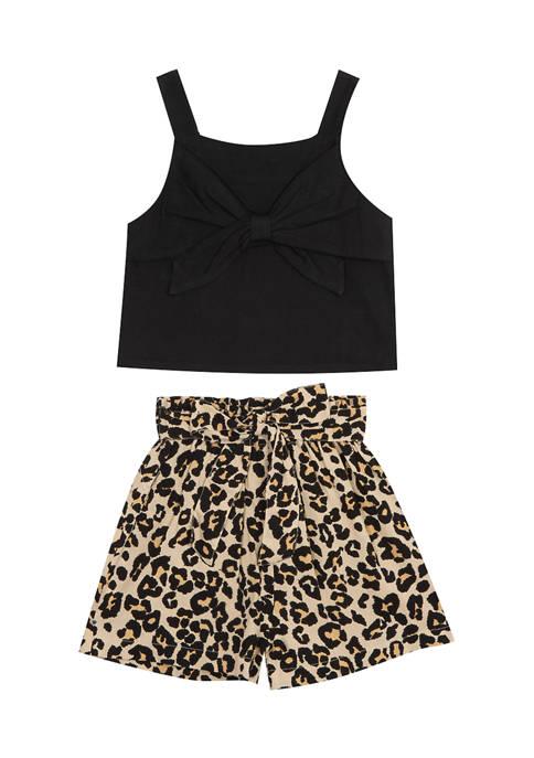 Toddler Girls 2-Piece Leopard Shorts Set