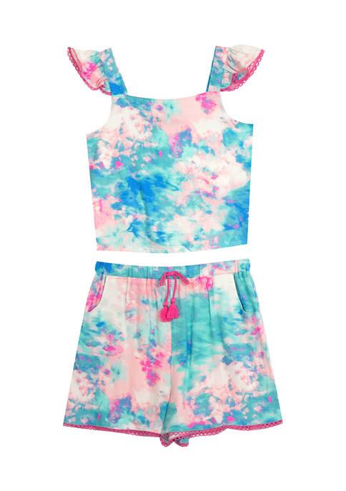 Toddler Girls Tie Dye Flutter Sleeve and Shorts Set