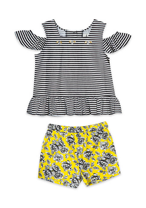 Rare Editions Girls Infant 2-Piece Striped Top and