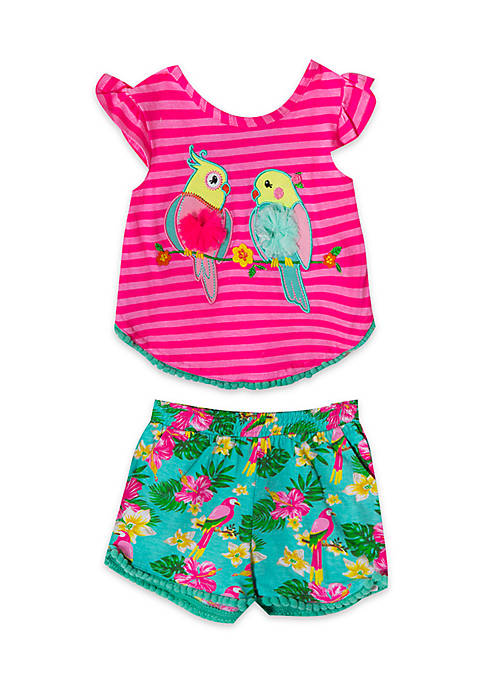 Rare Editions Girls Infant 2-Piece Bird Top and