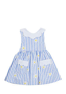 Rare Editions Girls Infant Daisy Stripe Dress