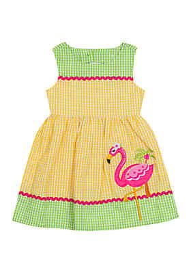 9046b6c4cdb Rare Editions Baby Girls Yellow Flamingo Seersucker Dress ...