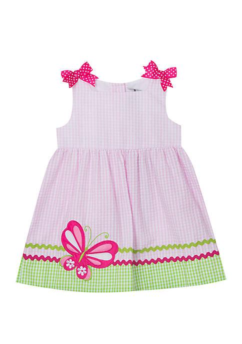 Baby Girls Pink Lime Butterfly Applique Seersucker Dress