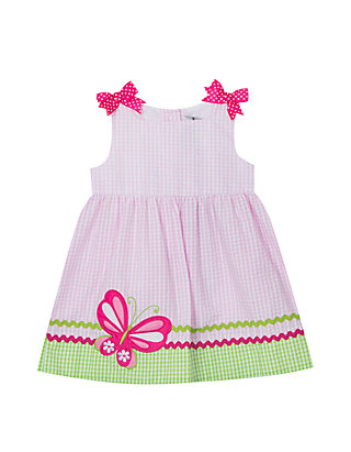 2100deb04 Rare Editions. Rare Editions Baby Girls Pink Lime Butterfly Applique Seersucker  Dress