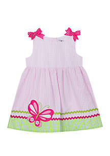 Rare Editions Baby Girls Pink Lime Butterfly Applique Seersucker Dress